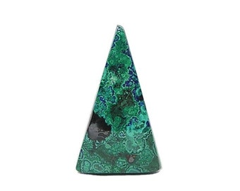 Malachite Green with Blue Azurite Gemstone, Semi Precious Copper Gem Paisley Stone Cabochon, Contour Polish  Southwestern Jewel, DIY