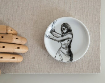 Hand painted Female black and white small round porcelain plate. Modern art painting on coaster,ooak,female dancing, gift,dance,movement art