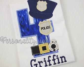 Police Birthday Shirt - Boys Birthday Shirt - Boys Police shirt - Boys law enforcement shirt