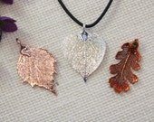SALE Leaf Necklace, Lacey Oak Leaf, Copper Real Leaf Necklace, Aspen Leaf, Real Leaf Pendant, Silver Leaves, Holiday Gifts SALE300
