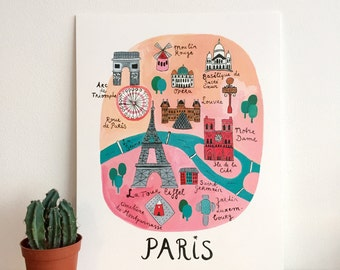 Illustrated Map Paris - Paris Poster - Paris Print - Paris Wall Art - Paris City Map Illustration - Paris Home Decor