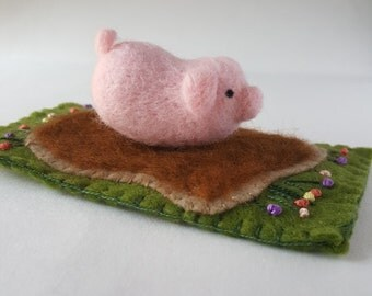 Needle Felted Pig in Mud