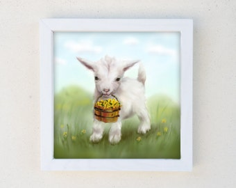 Goat Nursery Art, Lamb Print, Farm Animal Kids Wall Art, Framed Print