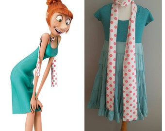 Upcycled Clothing, Girls Lucy Wilde Scarf Dispicable Me Costume, Pink Polka Dot Cotton Scarf, Only