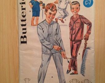 Boys Pajamas Butteick Sewing Pattern 2341 60s Siza 4