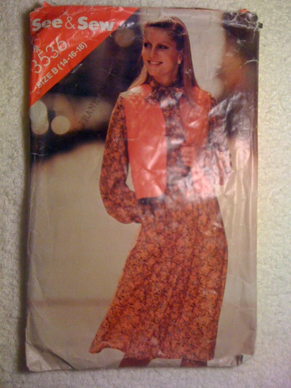 Butterick 3536 See and Sew Sewing Pattern 70s Misses Vest and Dress Size 14-16-18