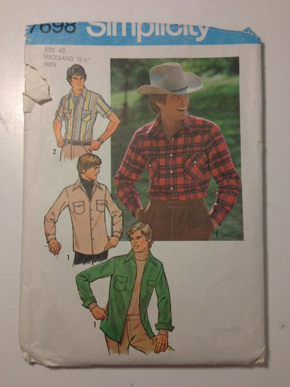 Men's Button Up Shirts Simplicity Sewing Pattern 7698 70s Size 40 or 46