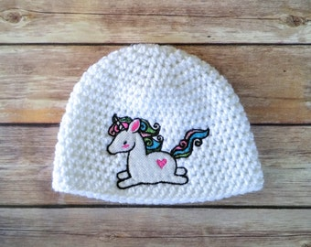 Unicorn Baby Hat - Unicorn Baby Clothes - Baby Unicorn - Baby Girl Beanie - Crochet Baby Girl Hat - Baby Hat Girl - Baby Hat Crochet