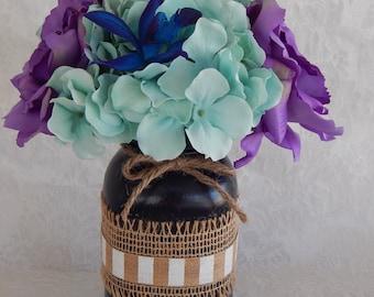 Silk Flower Centerpiece- Navy Blue Painted Mason Jar- Purple and Light Aqua Table Decor