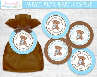 Teddy Bear Theme Baby Shower Favor Tags | Blue & Brown | It's a Boy | Personalized | Printable DIY Digital File
