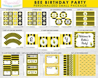 Busy Honey Bumble Bee Theme SMALL Birthday Party Package | Black & Yellow | Personalized | Printable DIY Digital Files