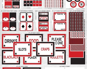 Casino Night Poker Theme LARGE Birthday Party Package | Red & Black | Personalized | Printable DIY Digital Files