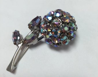 WARNER small 3-D Flower Brooch Aurora Borealis   Item: 110001