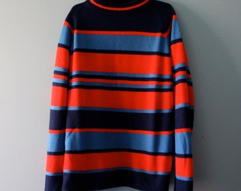 Vintage Striped Shirt / Woolcrest sweater in red and blue / Mock turtleneck style top / Boys size XL 10 to 12
