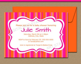 Baby Shower Invitation Template - Hot Pink and Orange Baby Shower Invitations - Girl Baby Shower Invites - Girls Birthday Invitations