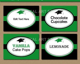 Graduation Place Card Template, Graduation Dinner Place Cards, Candy Buffet Tag Template, Candy Buffet Label, Tented Labels, Buffet Cards G1