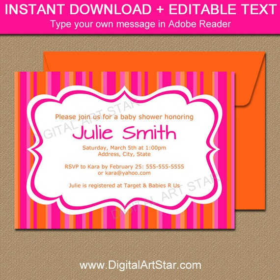Baby Shower Invitation Template Hot Pink And Orange Baby Shower