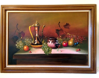 Large Vintage Still Life Oil Painting FRUIT and WINE Framed and signed Darla Cihlar