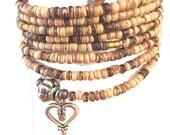 Amber Wood Beads Memory Bracelet