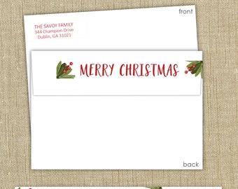 Wrap around return address labels.  Merry Christmas. Set of 50