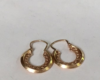 SALE Antique French Creole heart Hoop Earrings, in 18K Gold