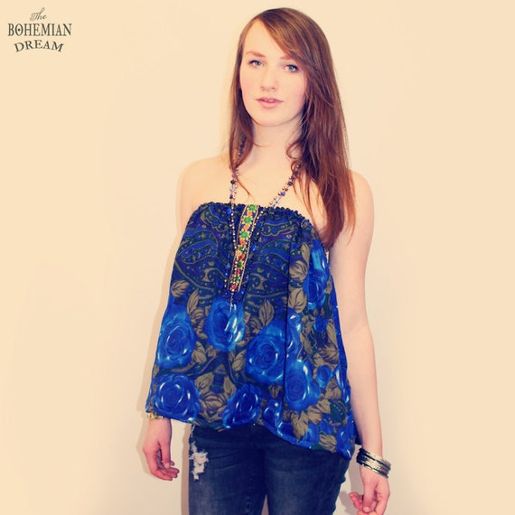 bohemian top tube shirt swing floral 60s vintage paisley