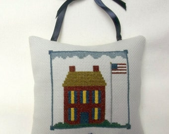Patriotic Ornament Cross Stitch House With Flag