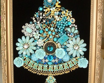 Jewelry Framed Christmas Tree~TRANQUIL TURQUOISE Christmas Jewelry Tree Black Velvet ~ Aqua Blue ~ Christmas Heirloom Keepsake