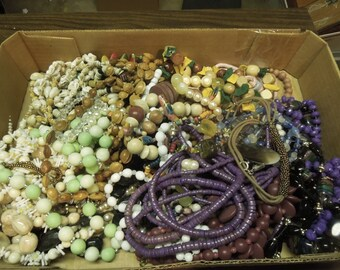Lot Beaded Necklaces Bracelets for Jewelry Repair 3.6 Ibs Crafts Destash Vintage Antique Beads