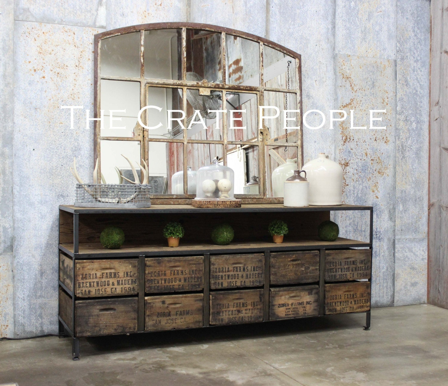10 Vintage Zoria Crate Credenza TV Console Buffet Table