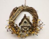 Grapevine Wreath with Bird House, Primitive Fall Wreaths, Country Wreaths
