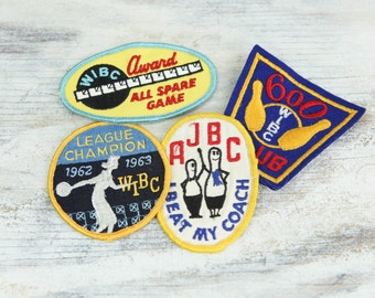 Vintage Bowling Patches, set of 4. (see Item Details for full description).