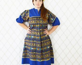 Vintage 1970's Blue Egyptian Print Dress - Hieroglyphic dress - Cotton Summer Frock Dress - Mu mu Caftan Dress - ladies Small to large
