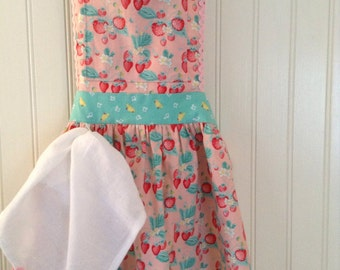 Tea Time Apron featuring 'The Shabby Strawberry' from Emily Hayes