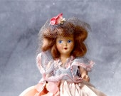 Bisque Doll Vintage 1940s Hand Painted Face - Mohair Wig - Pink Satin Dress - Tulle Hat Floral Embellishments - 7 Inch Collectible Dolls