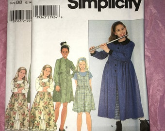 Uncut Mod 90s LDS style Simplicity sewing pattern #8241 Girls' Dress w/ Peter Pan Collar, Jumper & Petticoat - Size 7 8 10 12 14 YMA47R