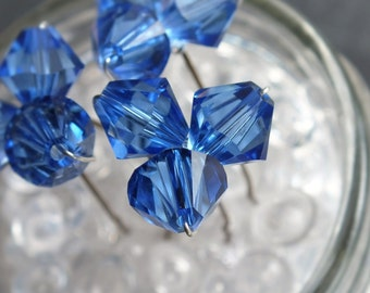 saphire hair pin,  royal blue large crystal hair pin, trio, wedding or prom, set of 3