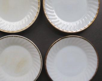 8 Milk Glass Dinner Plates // Vintage Fire-King Golden Anniversary Dinnerware Set of 8 Plates Swirled Pattern Gold Trim Border Mid Century