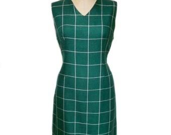 vintage 1960s green plaid dress / Rawson Square Nassau / wool blend / green white / window pane plaid / women's vintage dress / tag size 16