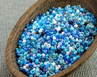 20g Czech seed beads Mixed blue seed beads MIX-10 Czech rocailles Seed bead soup seed beads