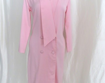 Vintage 80s pastel pink long sleeve dress, Easter dress, womens button down wrap dress