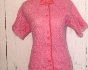 Vintage 50s Sweater, Pink Velvet Buttons and Bows, Cardigan, Hand Knit, Bright Pink, Hot Pink