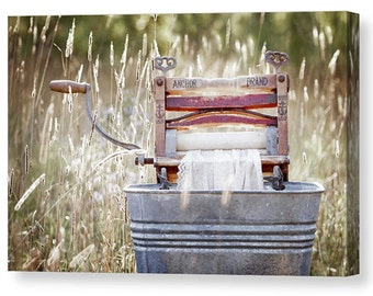 Laundry Room Decor, Gallery Wrapped Canvas, Antique Clothes Wringer Washer, Laundry Room Art, A Simple Life, Modern Rustic,Americana