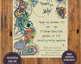 Paisley Bridal Shower Invitation - Bohemian - Boho - Bridal Brunch - Bridesmaid Lunch - Bridesmaid Luncheon - item 0087