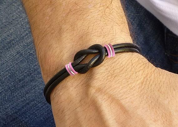 mens breast cancer awareness celtic love knot bracelet black. Black Bedroom Furniture Sets. Home Design Ideas
