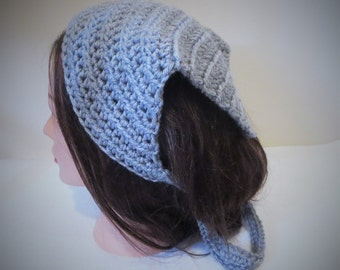 Gray Kerchief, Gray Crochet Bandana, Gray Hood Du-rag, Crochet Head Scarf, Tie on Kerchief, Crochet Kerchief, Gray Head Covering