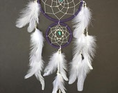 Dream Catcher with Double Rings Purple and White with Turquoise, baby girl nursery dreamcatcher wall decor!