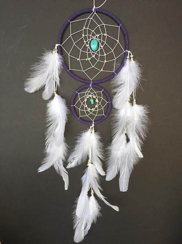 Dream catcher with double rings purple and white with for How to make a double ring dreamcatcher