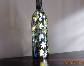 Wine Bottle cobalt blue with yellow Daisies hand painted