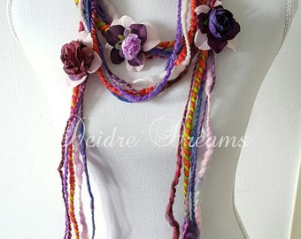 Flower Garland, Long Flower Fringe Scarf, Art Yarn Scarf, Lariat Scarf, Boho Fashion, Eco Friendly Wear, Hippie Scarf, Eco Chic Fashion
